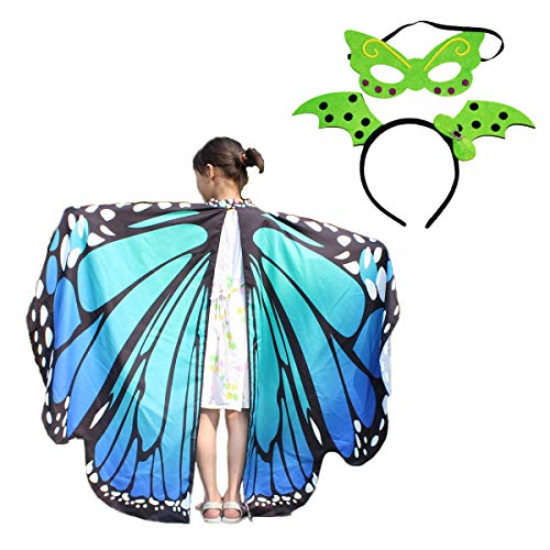 Kids Butterfly Flowy Wings Shawl Cape Party Prop Soft Fabric Costume Accessory for Girls (Blue)]()