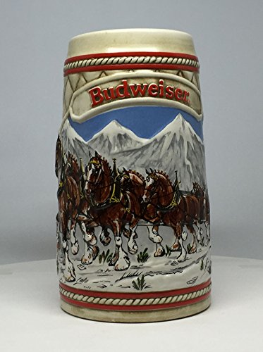 Holiday Stein Budweiser - Budweiser 1985 A Series Snow Capped Mountains Stein