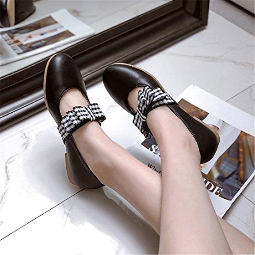 la Estudiantes el Durante Round y Otoño Pajarita up Presidente Primavera de Dulce black Tacón Zapatos Zapatos luz UxHqFtwH