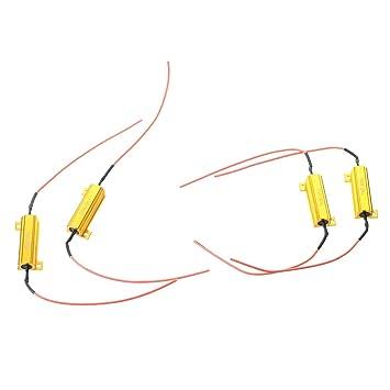 Resistencia - SODIAL(R) 4 pzs 50W 6RJ Resistencia de carga para Bombilla LED de senal de giro de coche: Amazon.es: Coche y moto