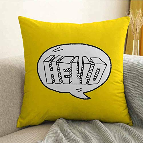 FreeKite Hello Pillowcase Hug Pillowcase Cushion Pillow Pencil Drawn Message Print of Hello in a Speech Bubble on Vivid Yellow Color Anti-Wrinkle Fading Anti-fouling W18 x L18 Inch Yellow Black White ()