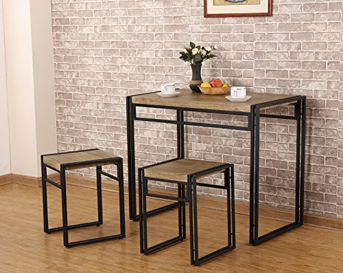3 Piece Kitchen Dinette (FIVEGIVEN 3 Piece Dining Bistro Table Set Indoor Kitchen Pub Table Set for Small Spaces Sonoma Oak)