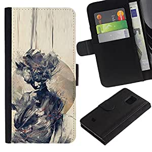 KingStore / Leather Etui en cuir / Samsung Galaxy S5 Mini, SM-G800 / Acuarela Mujer Significado Profundo;