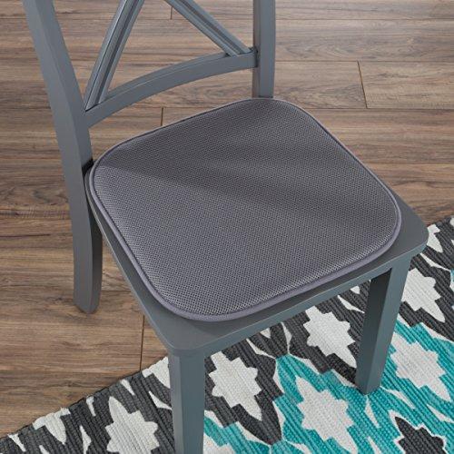 "Lavish Home 82-TEX1045DGY Memory Foam Chair Cushion-Square x 16"" , 16x16, Dark Gray"