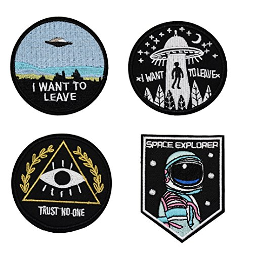 I Want to Leave UFO Patches, Space Explorer Patch, Trust No One Patch Embroidered Iron On Patch 4 Pcs