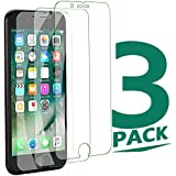 3Pack iPhone 8Plus Tempered Glass Clear Sreen Protector, No Bubble Not Full Coverage Screen Protector for iPhone 8 Plus[Cover Flat Area]