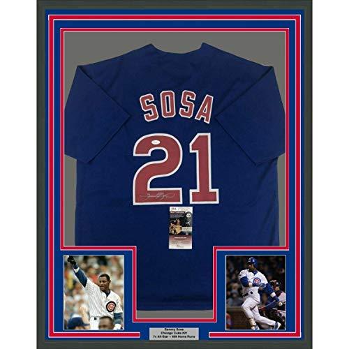 (Sammy Sosa Signed Jersey - FRAMED 33x42 Blue COA - JSA Certified - Autographed MLB Jerseys)