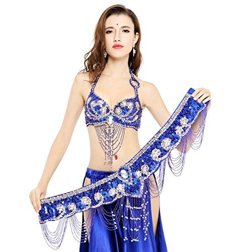 Dance Fairy Tassels Belly Dance Bra-Halter Handmade Shiny Flower Rhinestone Bra 36D with Belt & Bra Extender,Royal Blue by Dance Fairy