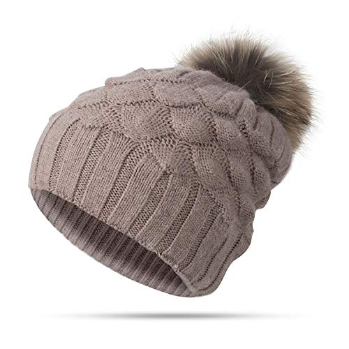 Fluffy Fur Ball Knitted Hat Winter Skullies Beanies Female Warm Winter Cap Pompoms Ball Hat Girls Cap,Khaki