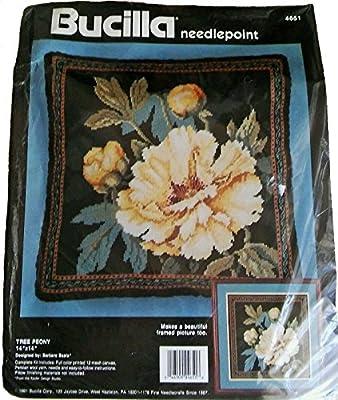 Bucilla Needlepoint Kit Tree Peony Floral Pillow 4651 By Barbara Baatz 1991