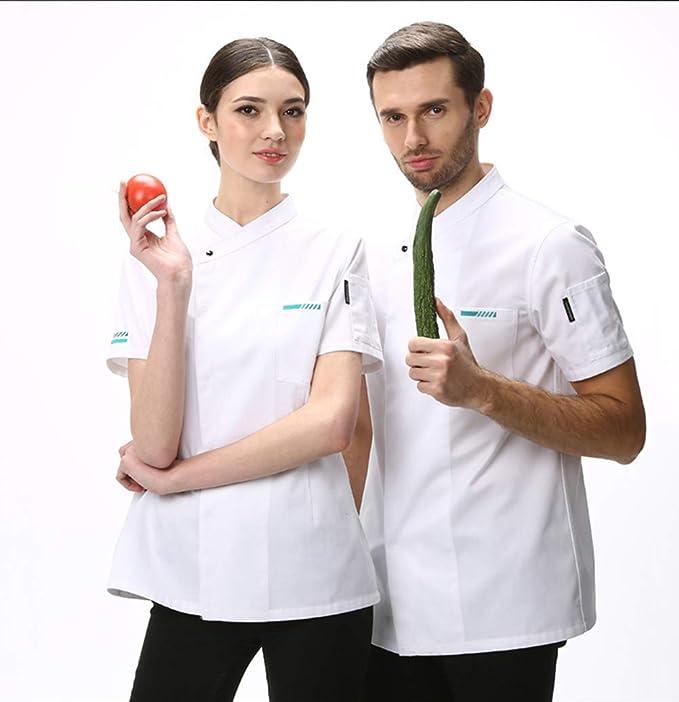 MZ Cocinar Disfraz Hotel Hombres Comida Chef Cocina Chaqueta Camisa Blanca De Manga Corta Restaurante Uniforme Mujer Chaqueta Cocinar 2 -Color,Blanco,M: Amazon.es: Deportes y aire libre