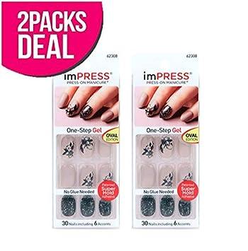 Amazon.com : 2-PACK! Kiss imPRESS Press-On One-Step Gel Manicure ...