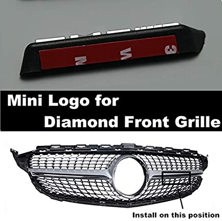 HCHD Diamant Grill AMG Mini Logo A B C E-Klasse W176 W246 W204 W205 W212 W213 Frontsto/ßstange Gitter passend for alle Automodelle Color : Black Word