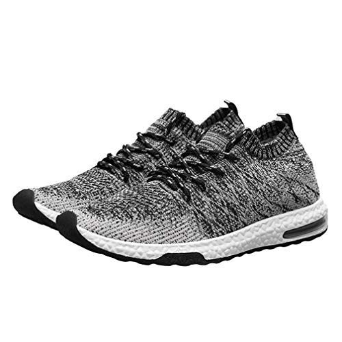 Shybuy Mens Fashion Lace up Sneakers Knit Lightweight Mesh Cross Trainer Sports Running Shoes (9, Black) by Shybuy Mens Shoes
