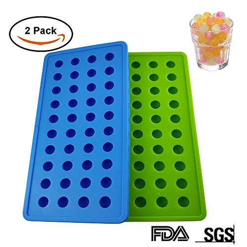 Cube Beads Mini (Round Ice Cube Mold, 2 Packs Of Food Grade 80 Bead Silicone Ice Tray, Stackable And Durable Ice Hockey Container Food Grade Silicone Without Bpa (Green/Blue))