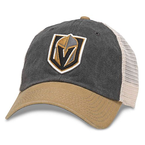 (American Needle Hanover NHL Team Mesh Hat, Las Vegas Knights, Ivory/Black/Gold (43352A-VGK))