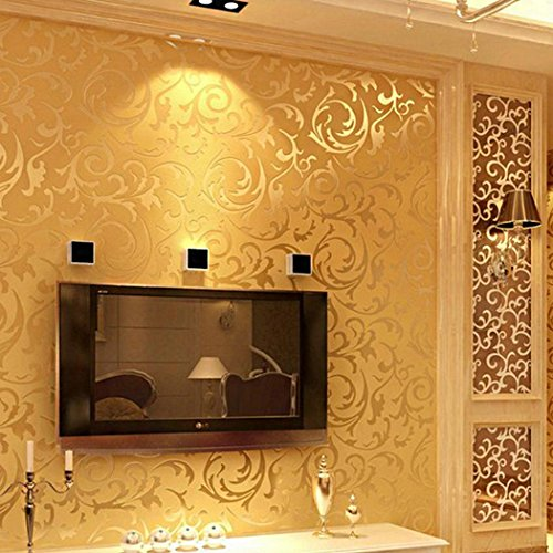 Gold Textured Wallpaper (Meflying 3D Non-Woven Wallpaper Print Embossed Wall Decor Sticker, Damask Luxury Textured Pattern Home Wallpaper for Home (US Stock) (Gold))