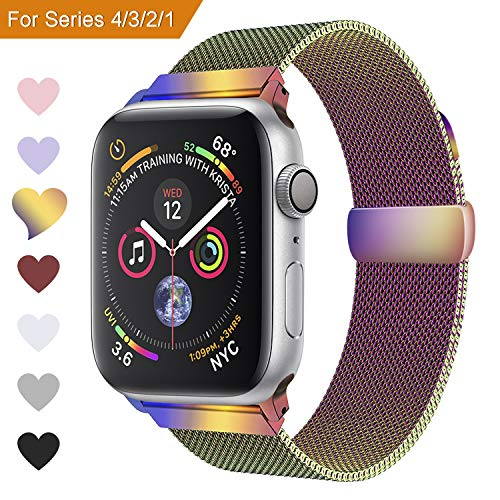 VODKE Compatible Apple Watch Band, Milanese Loop Replacement Magnetic Mesh Strap Bracelet Band for iWatch Series 1, 2, 3 Rainbow 42mm