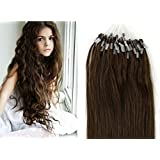 100s 22 inch micro links loop ring bead remy hair extensions 100% human hair extensions 0.5g/s color 8 -medium brown/medium ash brown