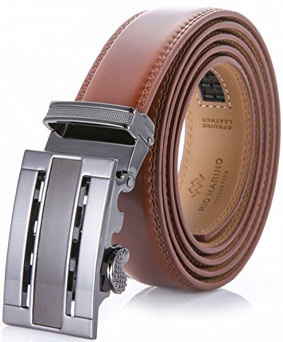 Marino Men's Genuine Leather Ratchet Dress Belt With Automatic Buckle, Enclosed in an Elegant Gift Box - Burnt Umber - Adjustable from 38