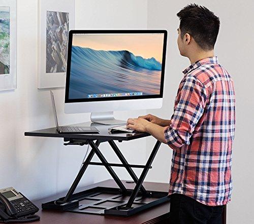 mount it standing desk ergonomic height adjustable sit stand desk 32x22 inch preassembled. Black Bedroom Furniture Sets. Home Design Ideas