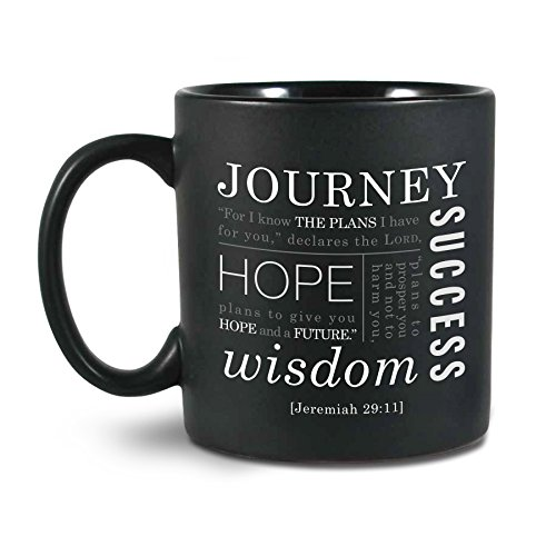 Lighthouse Christian Products Journey Ceramic Mug, Black