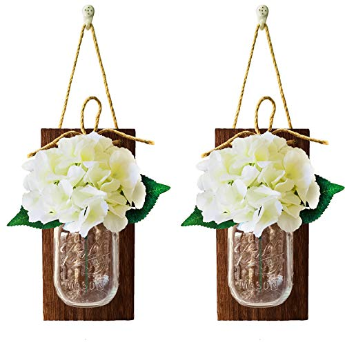 Mason Jar Handmade Flowers Lights, 2 Pack MasonJars,Artificial Flowers,Painted Wooden Boards,40 Leds String Fairy Lights,20pcs Hanging Pothook Button Accessories Included for Handmade DIY (Brown Wood) by Aobik (Image #4)