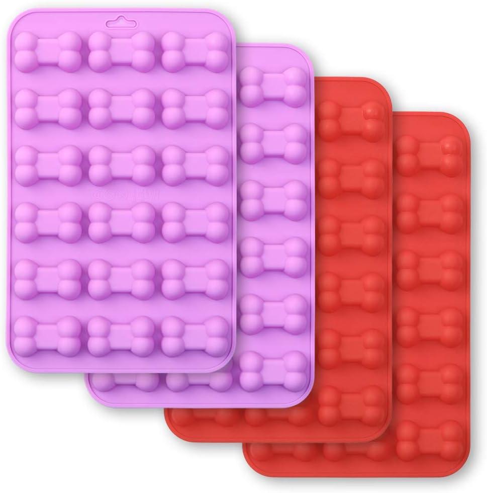 Cozihom Bone Shaped Silicone Molds, 18 cavity, Food Grade, for Chocolate, Candy, Cake, Pudding, Jelly, Dog Treats. 4 Pcs