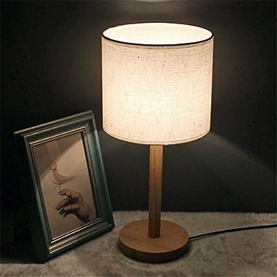 Lámpara de sobremesa pequeña pantalla de tela cilíndrica lámpara ...
