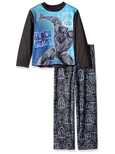 Marvel Boys' Big Black Panther 2-Piece Pajama Set, Vibranium, 12