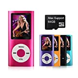 MYMAHDI - Digital, Compact and Portable MP3 / MP4 Player ( Max support 64 GB Micro SD Card ) with Photo Viewer, E-Book Reader and Voice Recorder and FM Radio Video Movie in Pink