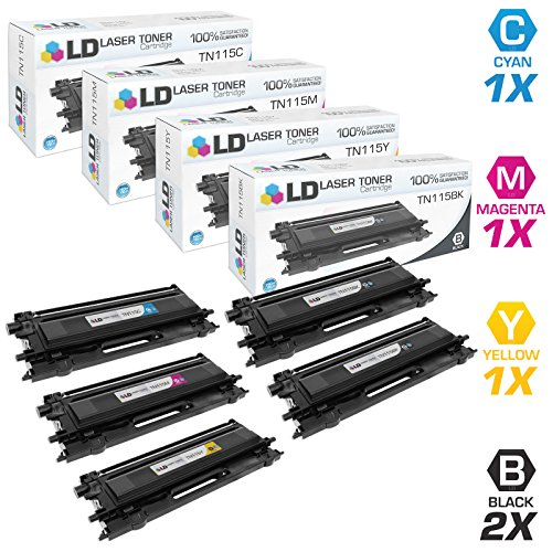 LD Remanufactured Toner Cartridge Replacement for Brother TN115 High Yield (2 Black, 1 Cyan, 1 Magenta, 1 Yellow, 5-Pack)