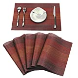 Homcomoda Place Mats Washable PVC Dining Table Mats Non-slip Heat-resistant Vinyl Placemats Set of 6(Red)
