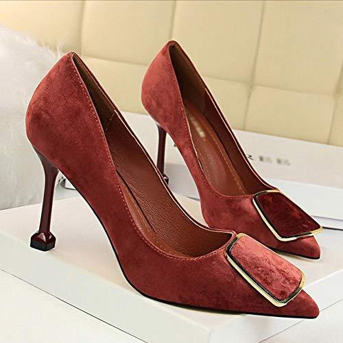 Métal Chaussures Bordeaux Bouche Ceinture Métier daim Haiming à femmes en peu Indiqué Sexy talons pour Ol profonde en RAarwqR