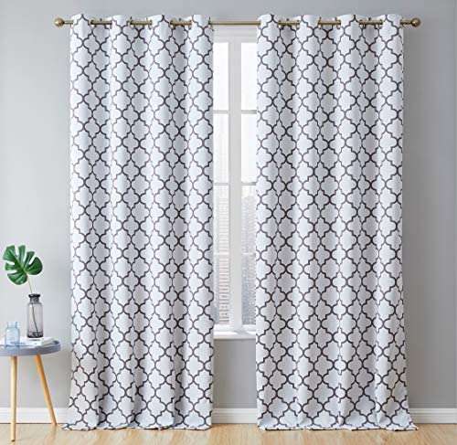 HLC.ME Lattice Print Decorative Heavy Blackout Thermal Insulated Privacy Room Darkening Grommet Extra Long Window Drapes Curtain Panels