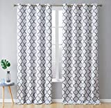 HLC.ME Lattice Print Decorative Blackout Thermal Insulated Privacy Room Darkening Grommet Window Drapes Curtain Panels for Bedroom - Platinum White & Grey - 52' W x 108' L - Pair
