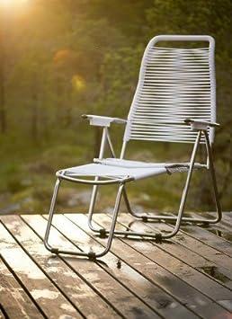 fiam Spaghetti Deckchair Art. 084 BI Aluminum chromed frame seat and back white color
