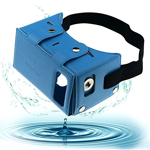 "Sminiker Waterproof Google Cardboard Kit,PU leather DIY 3D Glasses,3D Vr Virtual Reality Glasses ,Google Box for iPhone Samsung and Other 4.0-5.5"" Smartphones with Headband (Blue)"