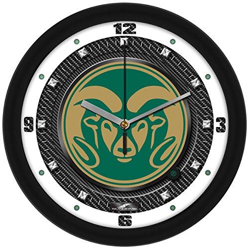 Ncaa Colorado State Rams Glass - SunTime NCAA Colorado State Rams Textured Carbon Fiber Wall Clock