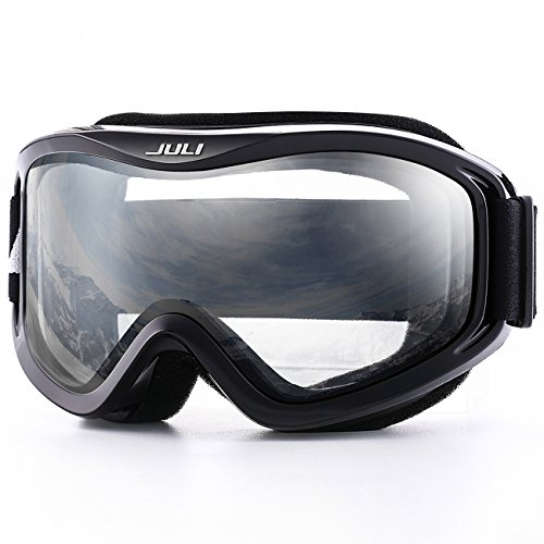 JULI OTG Ski Goggles-Over Glasses Ski / Snowboard Goggles for Men, Women & Youth - 100% UV Protection Anti-fog Dual Lens(Black Frame+83%VLT Clear Len)