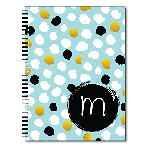 Blue Abstract Dot Personalized Monogram Spiral Notebook/Journal, 120 College Ruled or Checklist Pages, durable laminated cover, and wire-o spiral. 8.5x11 | 5.5x8.5 | Made in the USA