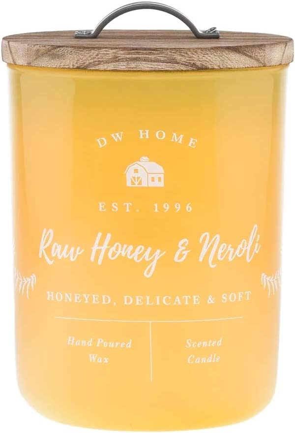 DW Home Farmhouse Classics Collection Large Double Wick Wood Lid Candle (Raw Honey & Neroli)