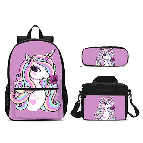Cartoon Unicorn Magic Backpacks Set 3 Pieces Big Lunch Bag Pen Bag for Kids Back to School Lightweight Daypack for Boys Girls