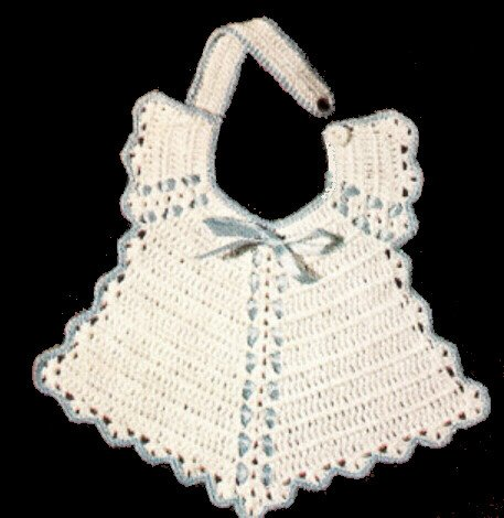 Vintage Crochet PATTERN to make - BABY BIB Christening Fancy Trim Old Fashioned. NOT a finished item. This is a pattern and/or instructions to make the item only. ()