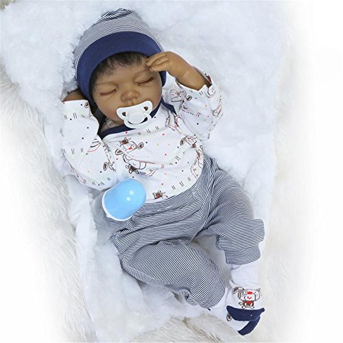 Search : NPK 20inch Lifelike Reborn Baby Doll Soft Silicone Vinyl baby African-American Boy Magnetic Mouth Cute Toy Lovely doll Gift Set for Ages 3+