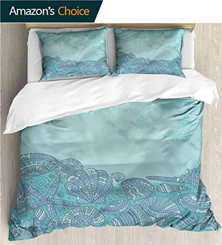 (Full Queen Duvet Cover Sets,Box Stitched,Soft,Breathable,Hypoallergenic,Fade Resistant 100% Cotton Reversible 3 Pieces Kids Girls Boys Bedding Sets-Nautical Marine Shell Seahorse (90