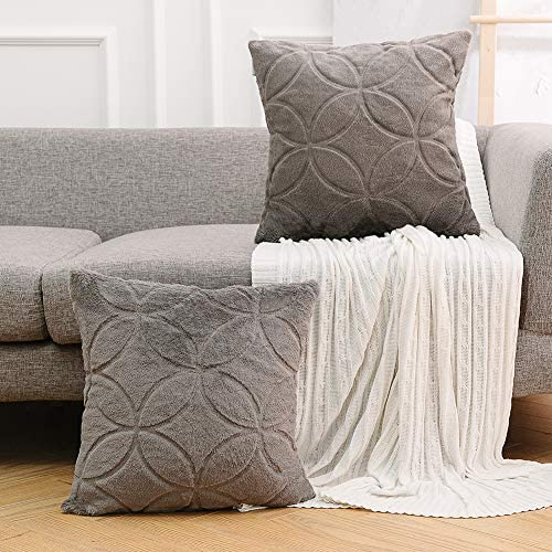 """NordECO HOME Luxury Soft Fleece Faux Fur Throw Pillow Covers, No Pillow Insert, 18"""" x 18"""" Inch, Grey, 2 Pack"""