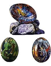 Lava Dragon Egg Crystal, Dream Crystal Resin Transparent Dragon Egg with Stand, Handmade Sculpture Office Desktop Ornaments Souvenir Exquisite Unique Gift