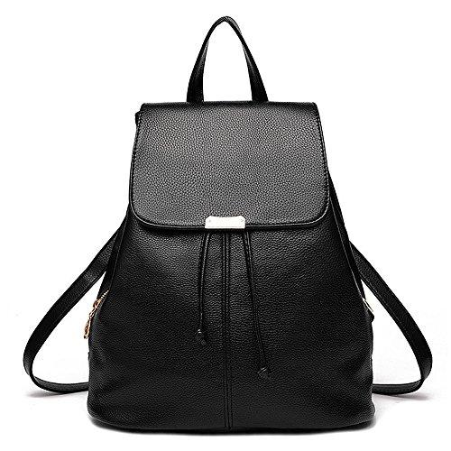 (JVP1042-P) Las mujeres mochila de cuero de LA PU bolsa de gran capacidad de viaje de regreso las mujeres 3way espalda hombro bolso de mano simple de moda popular luz de la escuela suburbana Negro