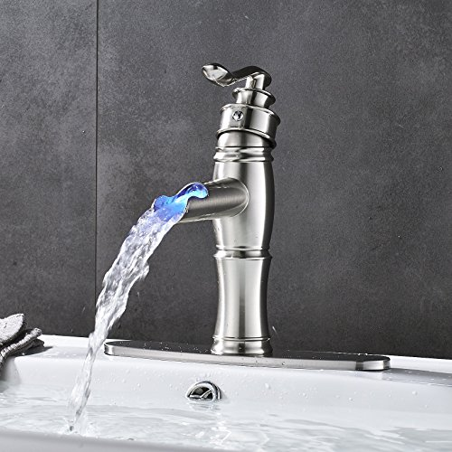 Rozin LED Light Waterfall Single Handle Basin Faucet with 8-inch Deck Plate Brushed Nickel by Rozin (Image #3)